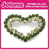 Newest Popular Double Green Heart Crystal Bulk Initial Rhinestone Brooch For Wedding Invitation Cards