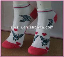 Fashion butterfly jacquard ladies/ women ankle socks