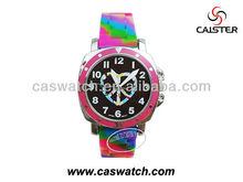 Colorful rainbow silicon watch, popular slap watch lady watch