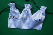 custom logo black satin bag,small drawstring gift pouch