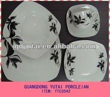16pcs square shape cut decal fine porcelain dinner set