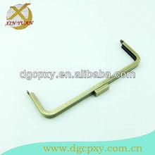 "10.6""square shape spring closure slightly metal handbag clutch/frame with antique brass plated"