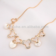 Newest 18 k gold plated whitetip clover with opal rhinestone necklace for women 2013 ZHXL-129