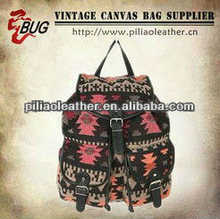 BUG best selling vintage canvas manufacture hiking,traveling and school student backpack bag