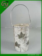 natural birch bark white wash wooden lantern