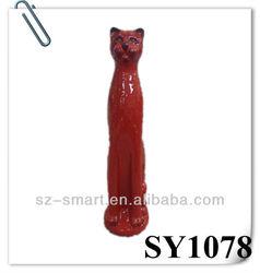 Red glazed high decorative ceramic cat