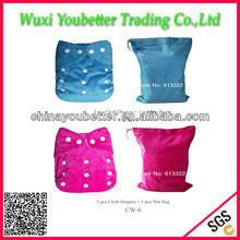 1 Roll Cloth Bag plus 5 pcs Baby Sleepy Cloth Diaper Reusable Cloth Diaper Washable