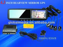 Novel car GPS & navigation mirror with 2-AV Input/high digital camera display special for chevrolet/toyota fortuner/nissan sunn