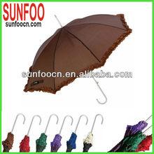 Aluminum shaft brown color ladies ruffle fashion lace umbrella