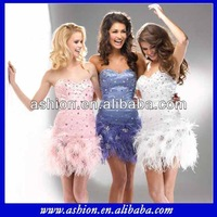 CD-427 Above knee elegant western cocktail dress with feathers short feather cocktail dresses 2014 white feather cocktail dress