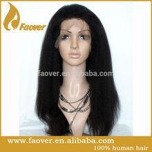 hot sale 100% human grey hair coarse yaki full lace wig