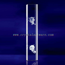 K9 3D Laser Radiant and the Wolf Etched Crystal with Pillar Shape