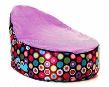 Baby Bean Bags - Choc circle PURPLE, two top covers disco balls bean bag chair, kid sitting beanbags sofa seat