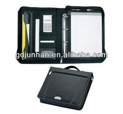 calculator folder leather portfolio with zip