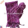 2013 100% moda cachecol de lã e chapéu set