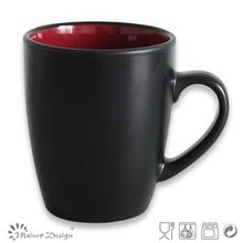 two tone colorful glaze mug inside dark red outside matt black milk mug