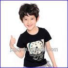 Hot sale chinese t-shirts cheap short sleeve black t-shirts with cartoon print bys kids t-shirts design