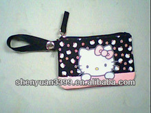fabric hello kitty cell phone pouch mobile phone bag with zip closure