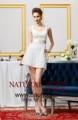 2014 cap manga com decote em v acima do joelho branco mini sheathy simples vestido de baile