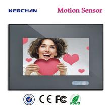 7inch 12V hot free post ad, motion sensor lcd ad, cheap rechargable small lcd display