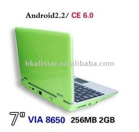 7 mini netbook for gift 800Mhz with WIFI Windows CE 6.0 mini laptop