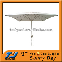 high quality square white waterproof aluminum crank outdoor parasol