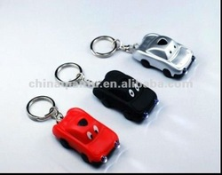 Solar LED keychain with car