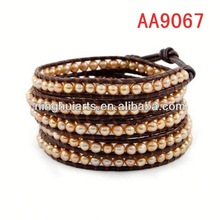 2014 new wrap new product for 2014 leather men's Christmas decoration China Manufacturer bracelet
