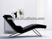 modern indoor living room chromed stainless steel frame PU or genuine leather fabric european style chaise lounge