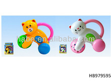 plastic cat and bear baby toy bell car, baby ring rattle