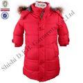 2013 nueva llegada de invierno cálido kid's abrigo largo, los niños ropa