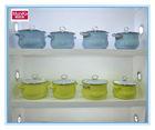 Munika enamel green cookware casserole pot pan set,High Quality Purple Floral Decal White 5Pcs Enamel Cookware Set Double handle