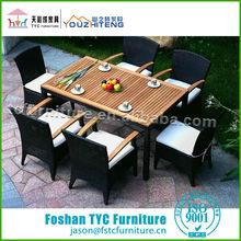 outdoor teak wood top tables set