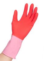 Red-Pink Bi-Color Flocklined Latex reusable Household Gloves