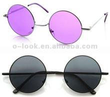 Cool Retro Peace Hippie Fashion Metal Lennon Round Sunglasses