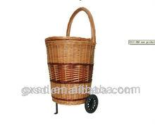 environmental weaving rattan with wheels shopping trolley car
