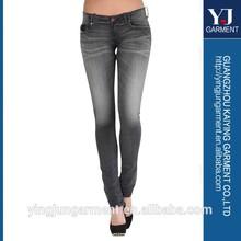 nuevo mineral de ácido lavar los pantalones vaqueros de cintura alta en dificultades rasgado delgado tramo de mezclilla pantalones vaqueros