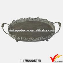 vintage silver color decorative round metal tray