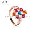 Ouxi красочный лабиринт золотыми вставками палец кольцо& ouxi ювелирные изделия сделано с элементами swarovski 40052