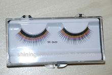 2015 hot design two color human hair false fake fashion eyelashes enhance with glue kits