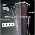 pulido de acero inoxidable de baño con ducha cabeza de ducha de lluvia ducha cascada conjunto mezclador