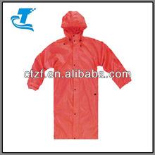 Adult Red PU Long Rain Coat with Hood 2014