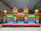 2014 on sale popular SpongeBob theme inflatable spongebob fun city, bouncy theme castle game for kids