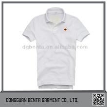 2015 hombres bordado blanco camisas de polo con gigh calidad de la tela de algodón