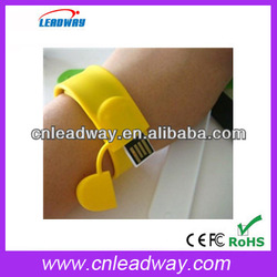 2014 New! Silicon slap Wristband bracelet bulk 1gb usb flash drives