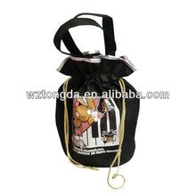 2015 Promotional custom black non woven drawstring bag