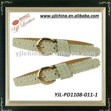 2012 beige white laciness belts with small metal balls