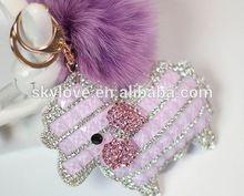 Wholesale personal Custom rabbit fur ball key chain