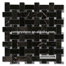 Lauren Brown Basket Weave Marble Bathroom Floor Tile