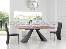 2014 modern heat selling wood top metal base modern dining table